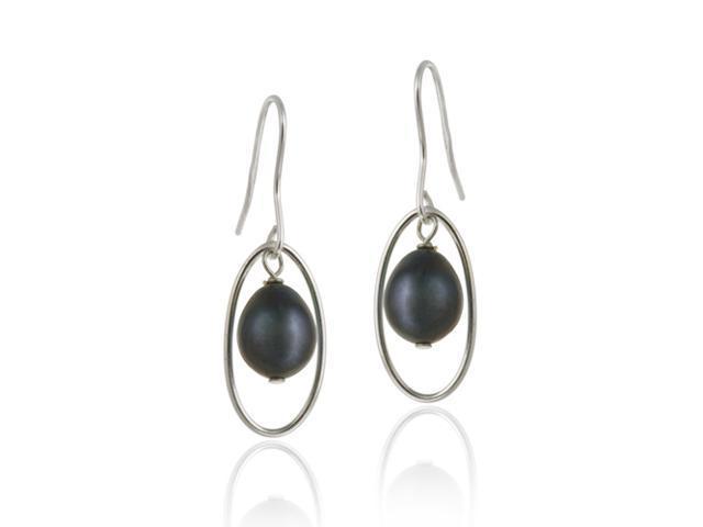 Sterling Silver Freshwater Cultured Peacock Pearl Dangle Earrings