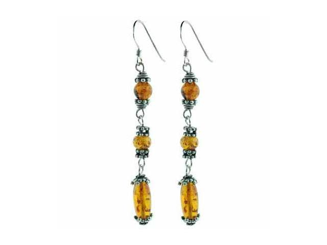 Sterling Silver Bali bead Genuine Amber Stone Dangle Earrings