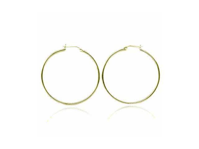 18K Gold over Sterling Silver 49mm Hoop Earrings