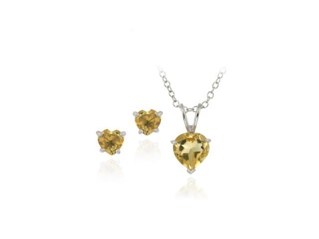 Sterling Silver 1.9ct TGW Citrine Heart Solitaire Pendant & Stud Earrings Set, 1