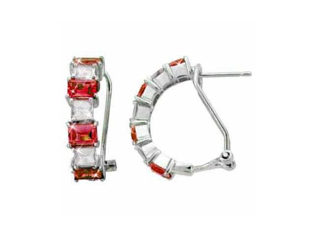Sterling Silver Red CZ and Simulated Diamond CZ Half Hoop Earrings