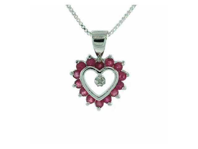 Sterling Silver Genuine Diamond accent and Genuine Ruby Heart Pendant
