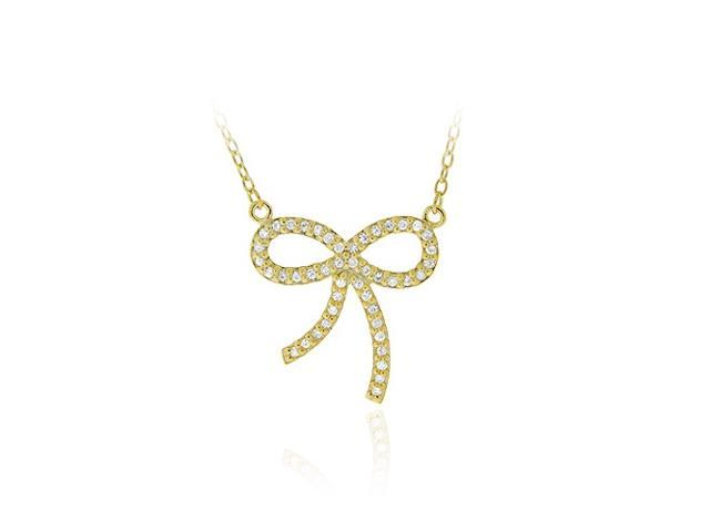 18K Gold over Sterling Silver CZ Bow Tie Pendant Necklace 18