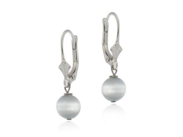 Sterling Silver Earrings Gray Cats Eye LeverBack Lever Back Bead Earrings