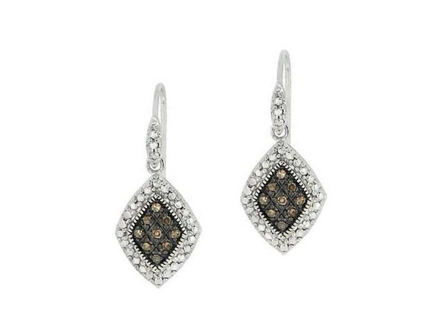 Sterling Silver 1/5 ct. TDW Champagne Diamond Dangle Earrings