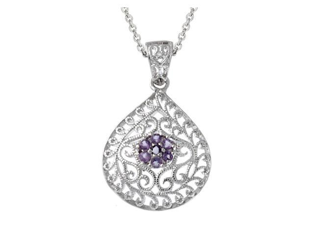 Sterling Silver & Genuine Amethyst Filigree Teardrop Pendant