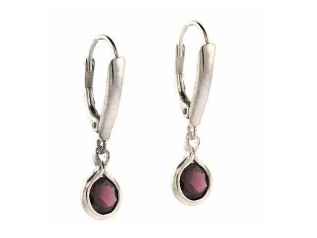 Sterling Silver Round Genuine Garnet Stone Dangling LeverBack Lever Back Earring