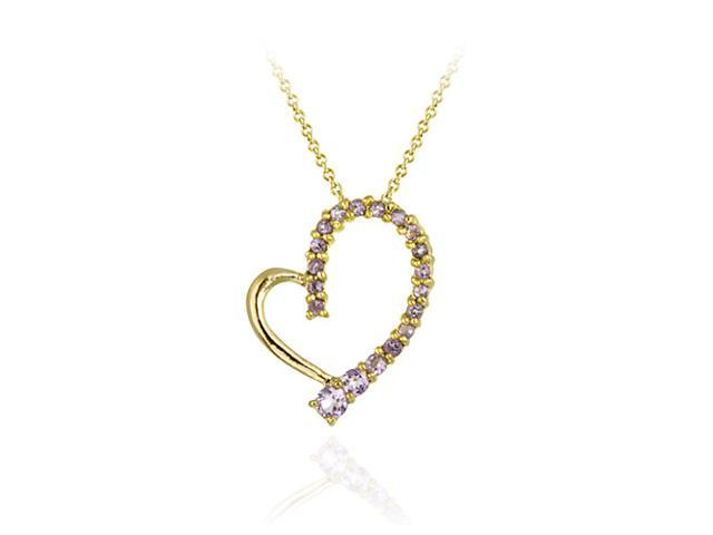 18K Gold over Sterling Silver Amethyst Floating Open Heart Pendant