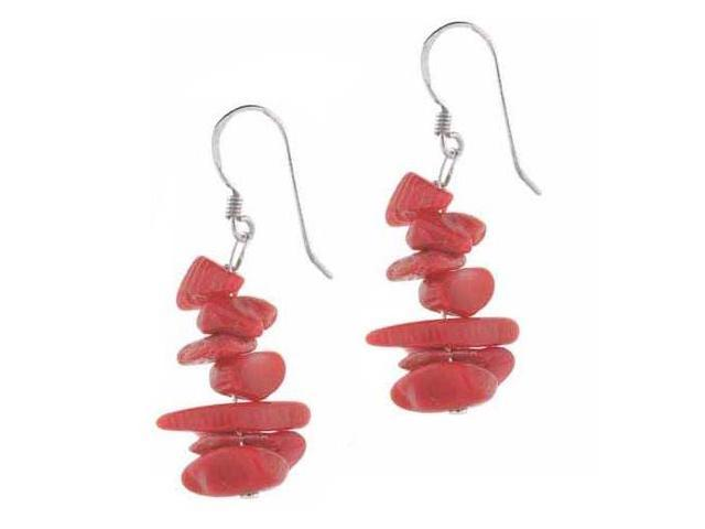 Sterling Silver Pink Genuine Sea Bamboo Coral Chip Earrings