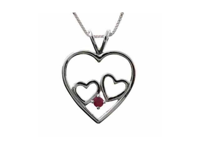 Sterling Silver Double Heart Genuine Ruby Pendant