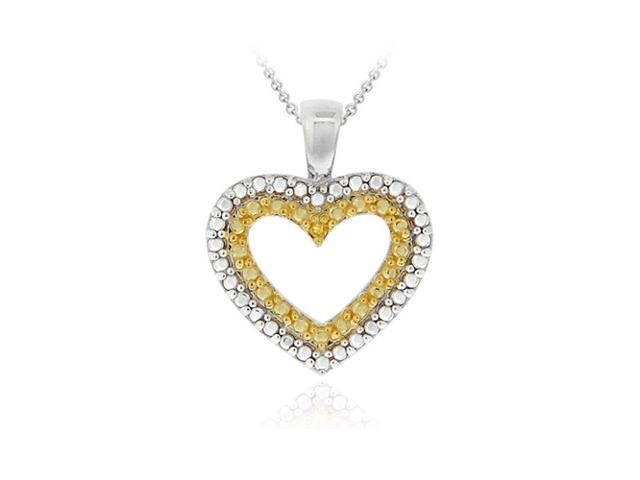Sterling Silver Two-Tone Yellow Diamond Accent Heart Pendant