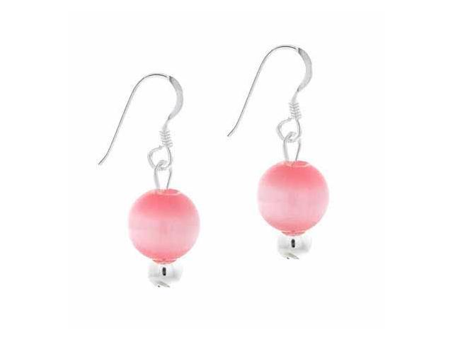 Sterling Silver 6mm Simulated Pink Cats Eye Stone Bead Beaded Dangle Hook Earrin
