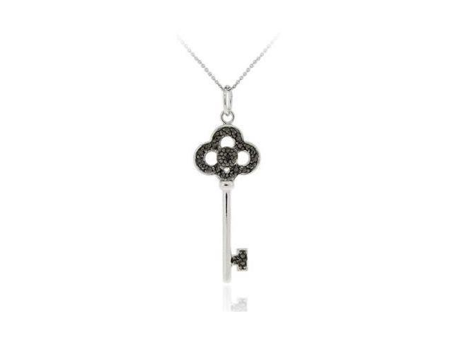 Sterling Silver Designer Inspired Black Diamond Accent Crown Key Pendant