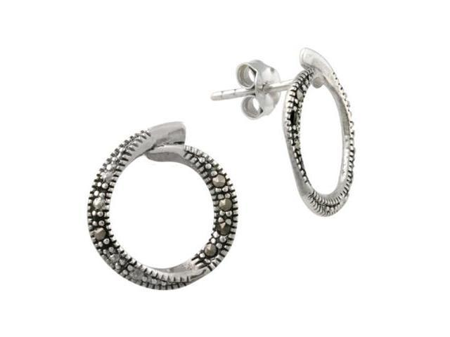Sterling Silver Marcasite Open Circle Earrings