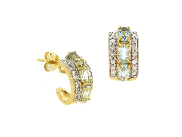 18K Gold over Stelring Silver Blue Topaz & Diamond Accent Oval Half Hoop Earring