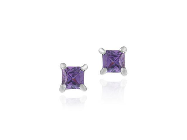 Sterling Silver Simulated Amethyst cubic zirconia Square Stud Earrings