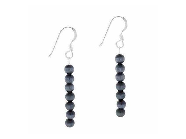 Sterling Silver 4mm Black Simulated Cats Eye Stone 6 Bead Beaded Dangle Hook Ear