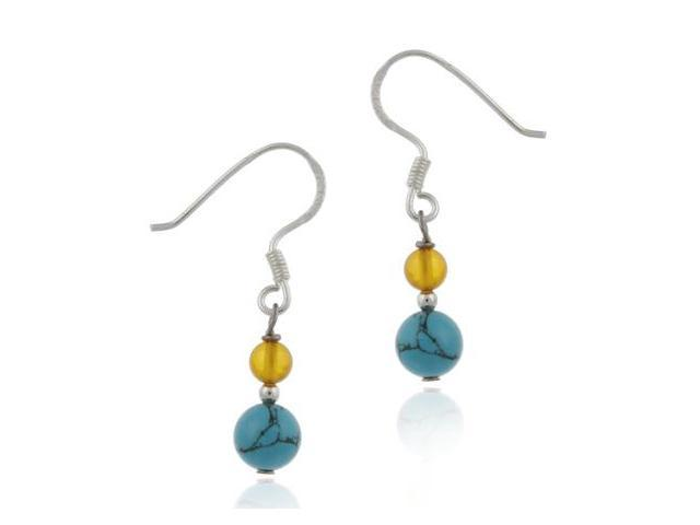 Dangling Reconstituted Turquoise & Genuine Amber Stone Beaded Earrings