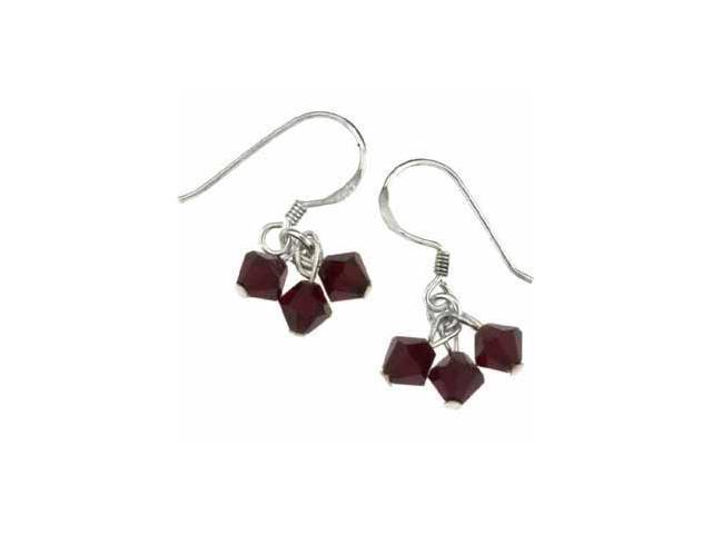 Dark Red Genuine Swarovski Crystal Silver Earrings