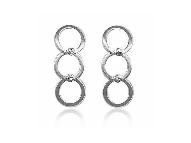 Sterling Silver and Simulated Diamond CZ Three Circle Earrings
