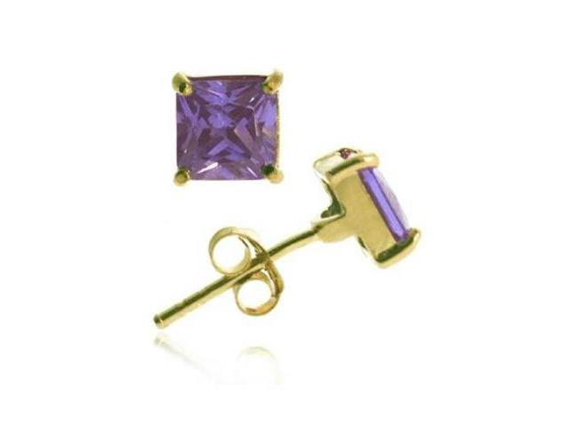 18k Gold over Silver Purple CZ 5mm Square Stud Earrings