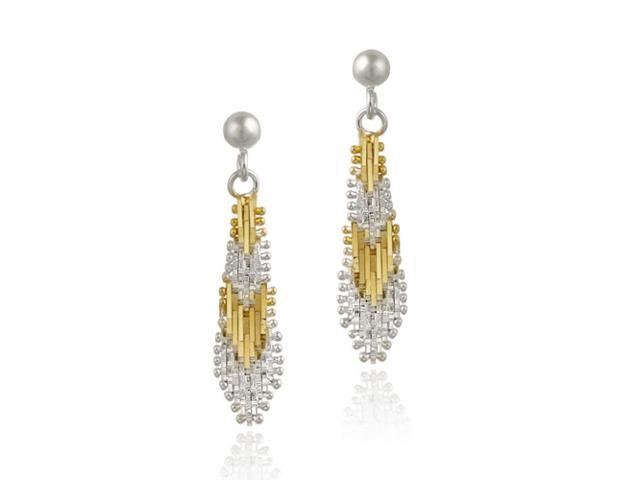 18K Gold over Sterling Silver Two Tone Dangle Earrings