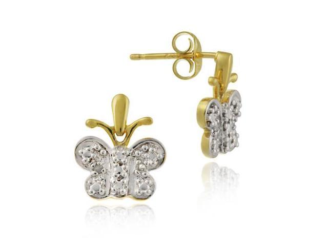 Dangling 24k Gold Butterfly Genuine Diamond Accent  Earrings