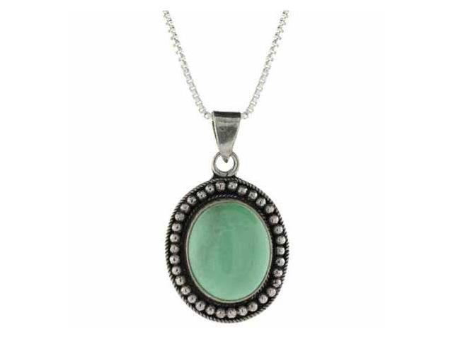 Genuine Variscite Stone Sterling Silver Bali Beaded Oval Pendant