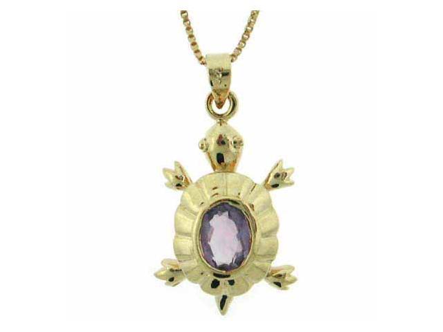 Vermeil (24k Gold over Sterling Silver) Genuine Amethyst Turtle Pendant