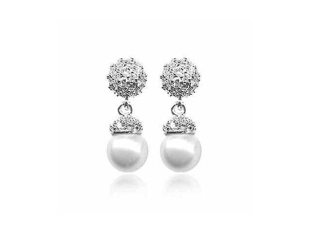 Sterling Silver Simulated Diamond CZ and simulated White Pearl Earrings