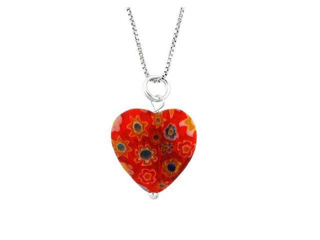 Summer Murano Glass Sterling Silver Bead Orange Millefiori Flower Heart Pendant