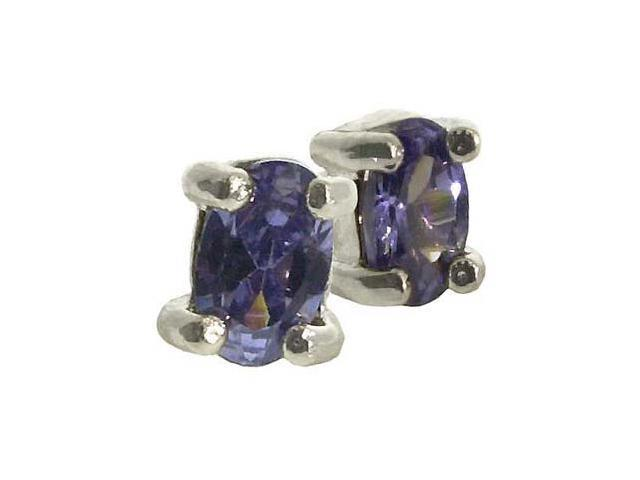 SILVER .925 TANZANITE cz stone oval small STUD EARRINGS