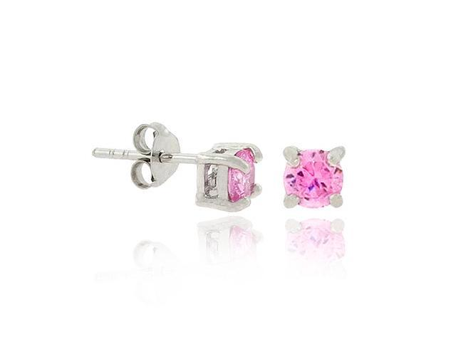 .925 Sterling Silver 4mm Prong Pink cz Small Stud Earrings