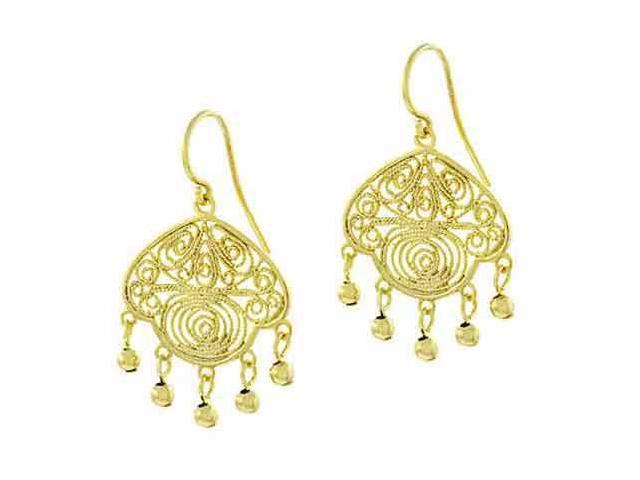 18K Gold over Sterling Silver Vintage Filigree Beaded Earrings