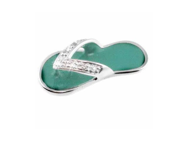 Celebrity Sterling Silver Simulated Diamond CZ and Turquoise Enamel  Flip Flop S