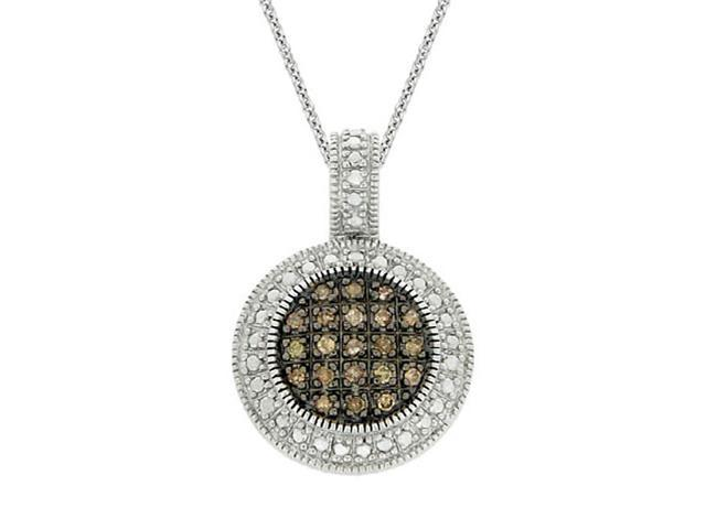 Sterling Silver 1/4 ct. TDW Champagne Diamond Round Pendant