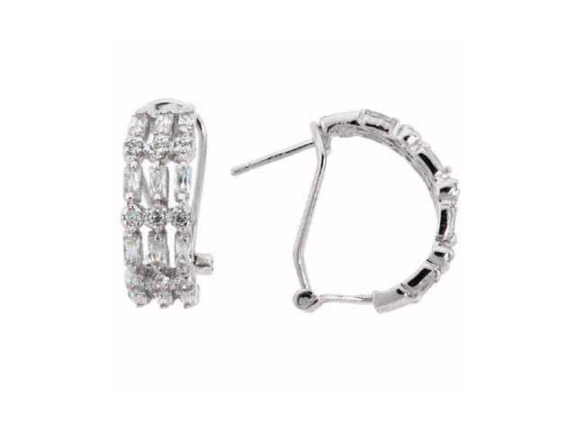 Baguette/Round Brilliant Simulated Diamond CZ 3 Row Omega Silver Earrings