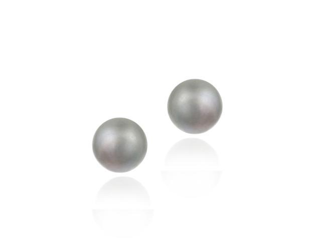 18K Gold over Sterling Silver Freshwater Cultured 8-8.5mm Grey Pearl Stud Earrin