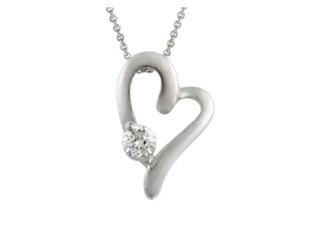 Sterling Silver Romantic CZ Heart Pendant