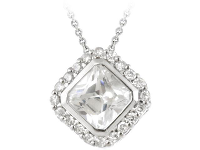 Sterling Silver CZ Princess Cut Slide Pendant