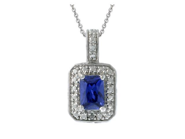 Sterling Silver Diamond Accent & Blue CZ Rectangle Pendant