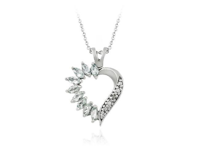 Sterling Silver Genuine Blue Topaz and Genuine Diamond Accent Heart Pendant