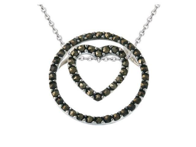 Sterling Silver 3-in-1 Marcasite Heart & Circle Pendant