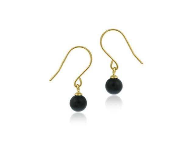14k Gold Dangling Onyx Earrings
