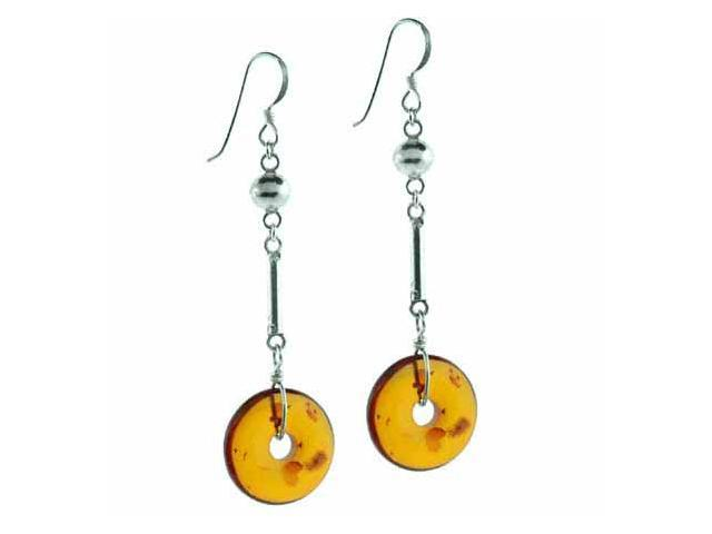 Sterling Silver Genuine Amber Stone Disc Bar Bead Dangling Earrings