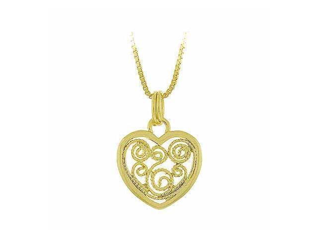 Vermeil (24k Gold over Sterling Silver) Sterling Silver Filigree Heart Pendant