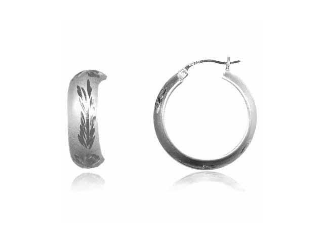 Diamond cut Hoop Earrings Flower Leaf Design