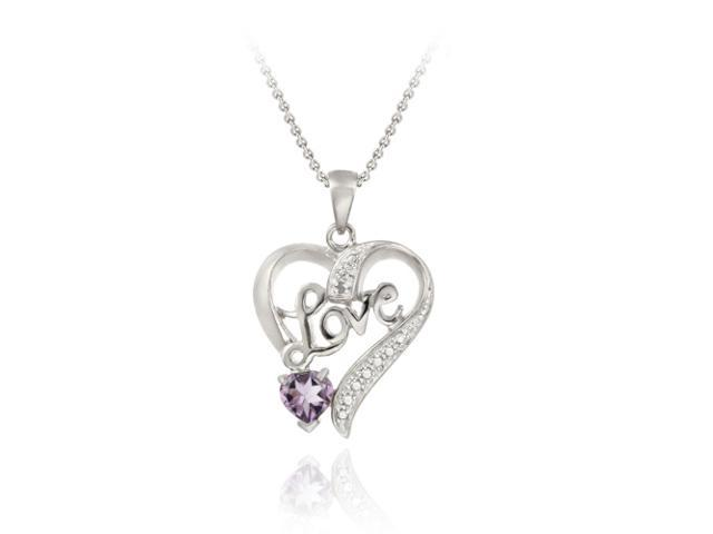 Sterling Silver Amethyst & Diamond Accent