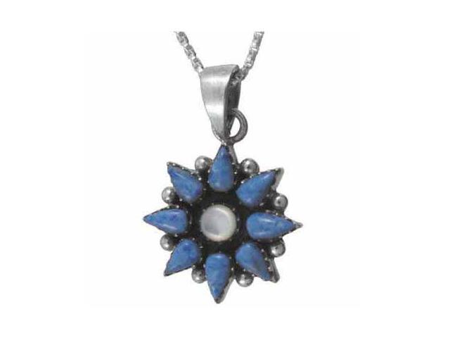 Sterling Silver Flower Genuine Mother of Pearl and Denim Lapis pendant