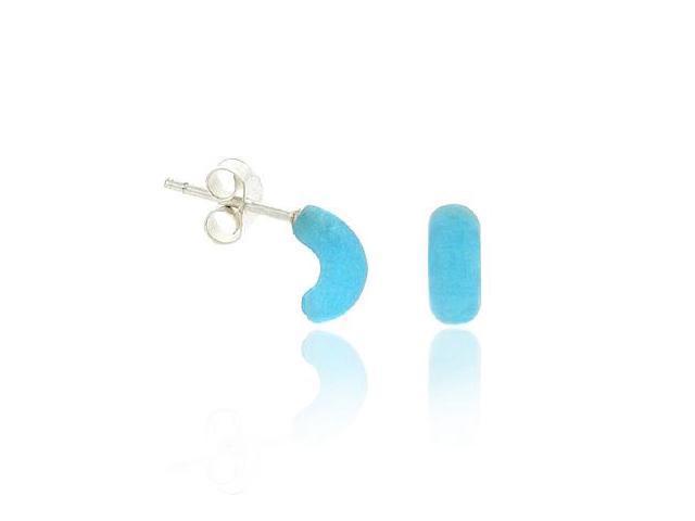 Retro Sterling Silver .925 Ocean Blue Half Hoop Mini Small Kid Stud Earrings